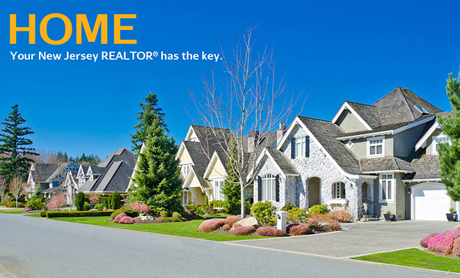 Realtor®: A suburban block of homes with text that reads Home Your New Jersey Realtor® has the key