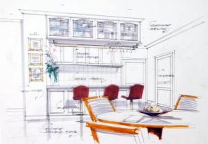 sketch-of-kitchen-interior