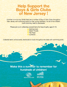 Boys & Girls Clubs: Flyer for collection of swim-related items.
